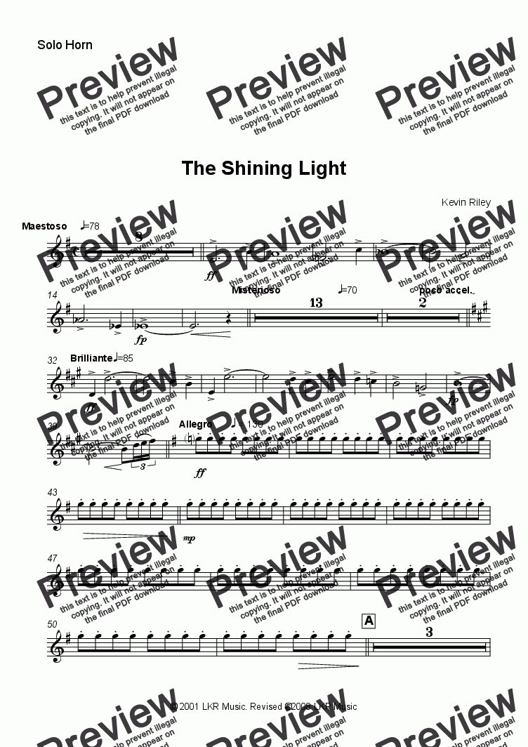 page one of the Solo Horn part from The Shining Light