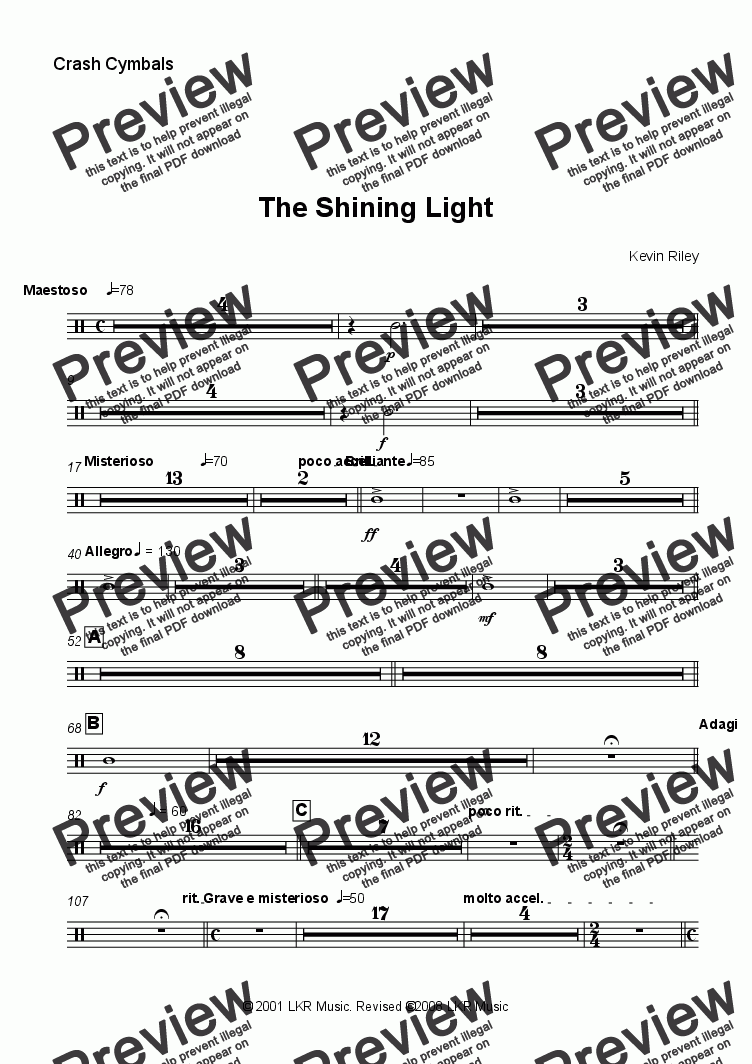 page one of the Crash Cymbals part from The Shining Light