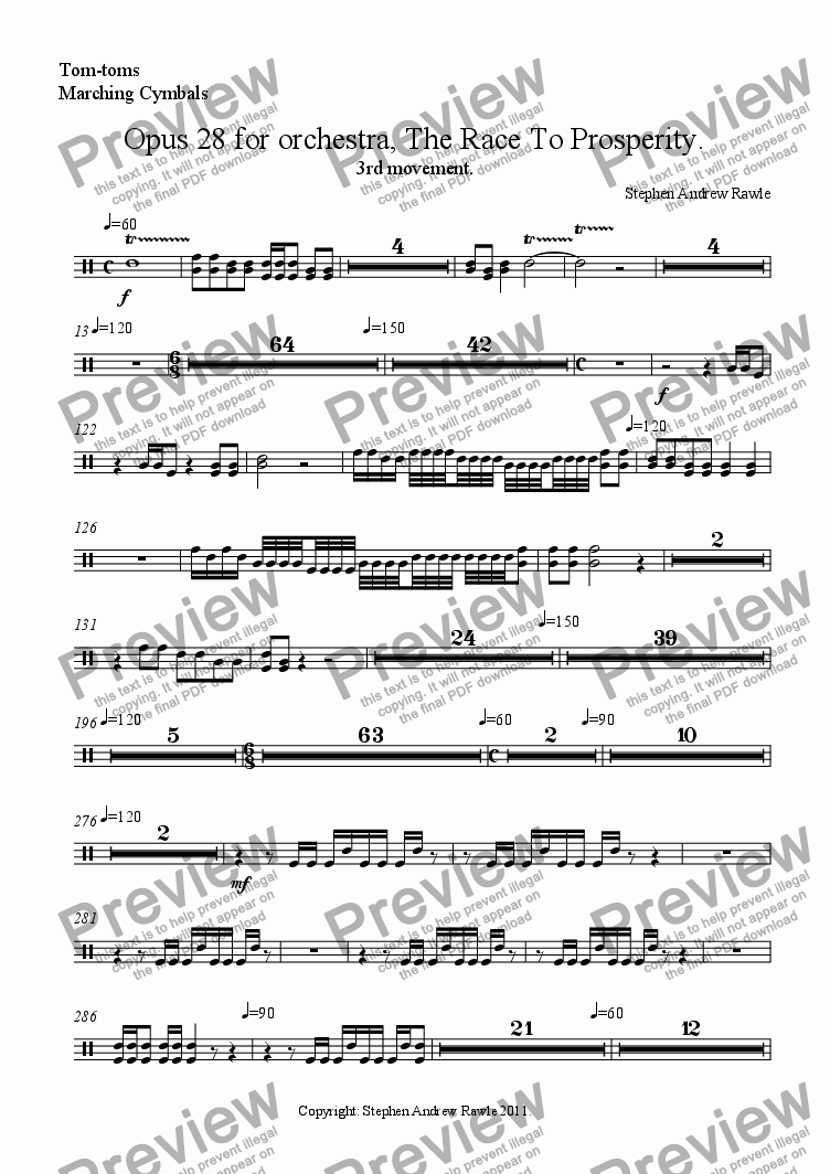 page one of the Tom-toms, Marching Cymbals part from Opus 28/3, The Race To Prosperity.