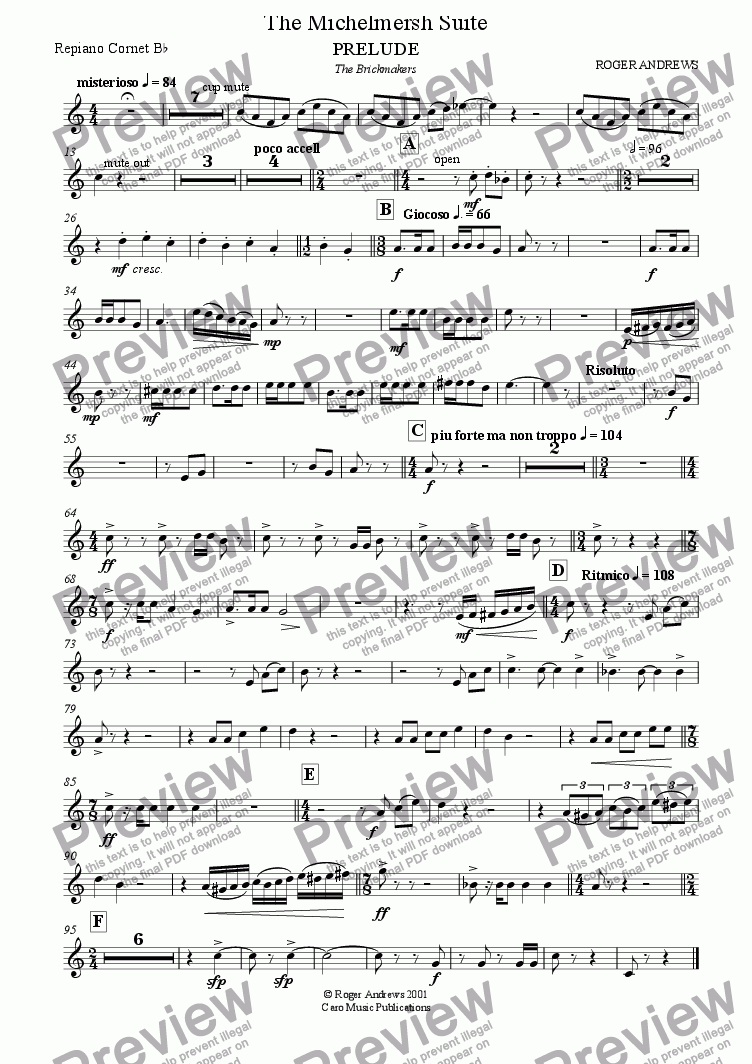 page one of the Repiano Cornet Bb part from The Michelmersh Suite ( Brass Band )