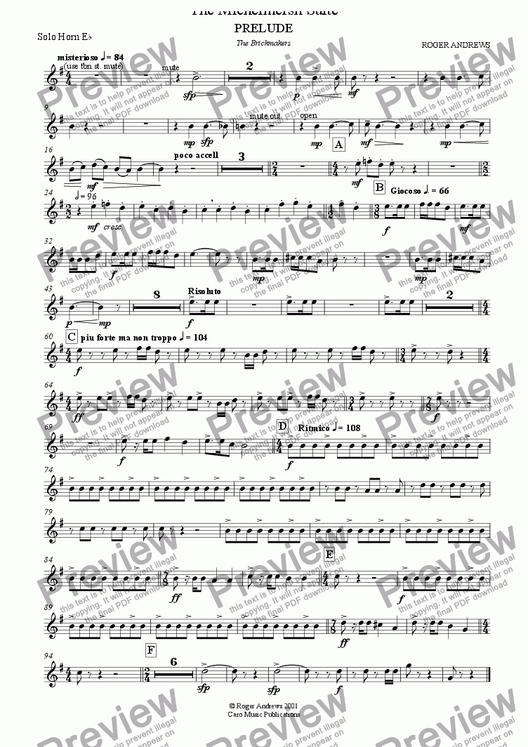 page one of the Solo Horn Eb part from The Michelmersh Suite ( Brass Band )