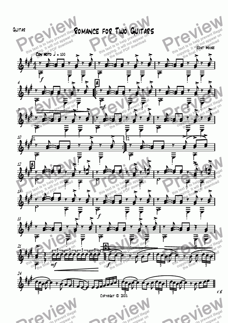 page one of the Guitar part from Romance for Two Guitars