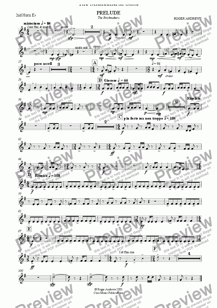 page one of the 2nd Horn Eb part from The Michelmersh Suite ( Brass Band )