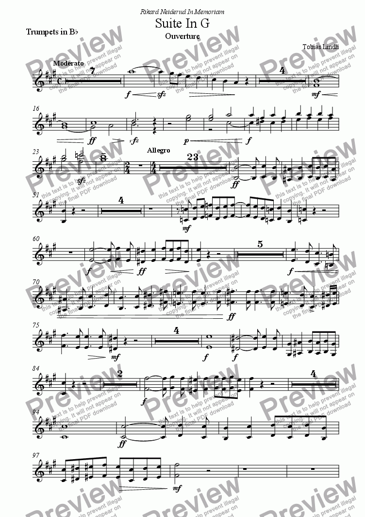 page one of the Trumpets in B^b part from Suite In G ; Complete Score