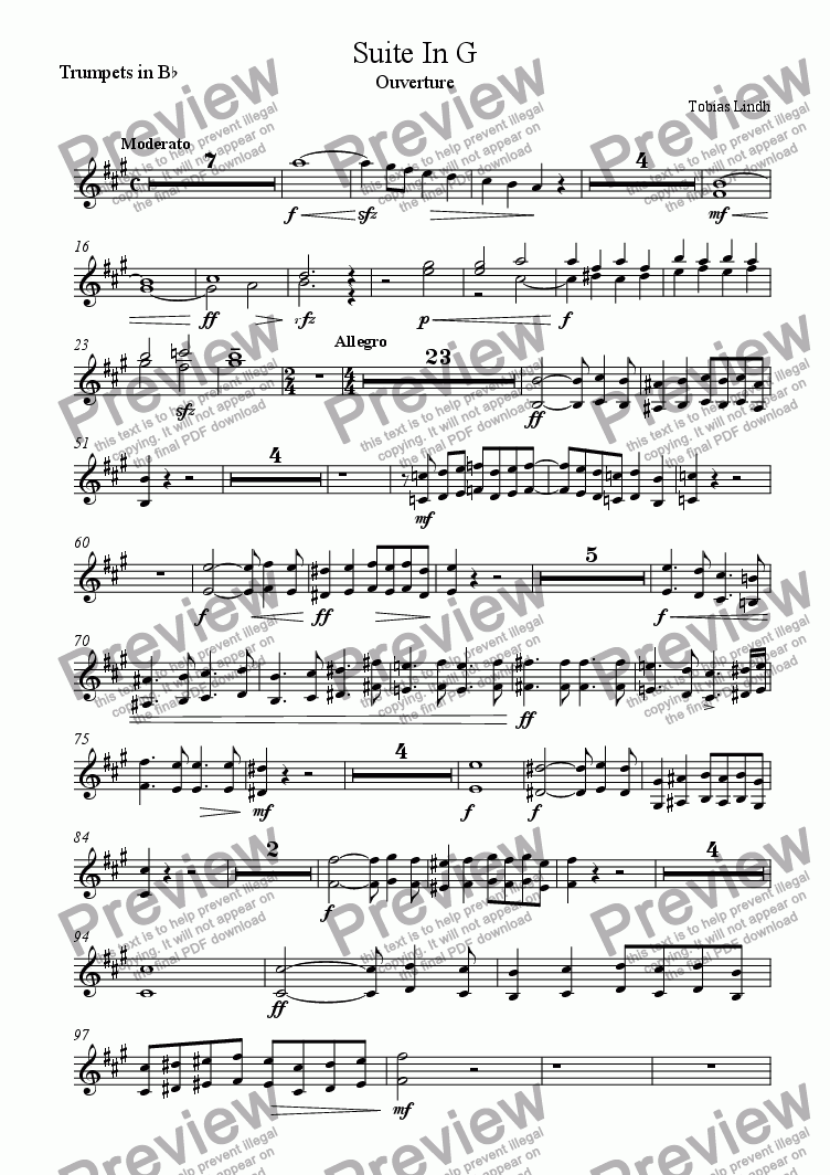 page one of the Trumpets in B^b part from Suite In G ; Ouverture