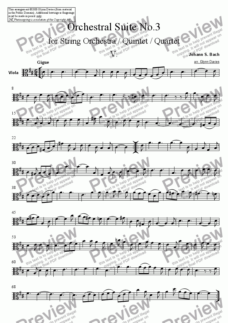 page one of the Viola part from Orchestral Suite No.3 - 5. Gigue