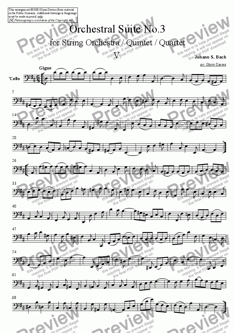page one of the Cello part from Orchestral Suite No.3 - 5. Gigue