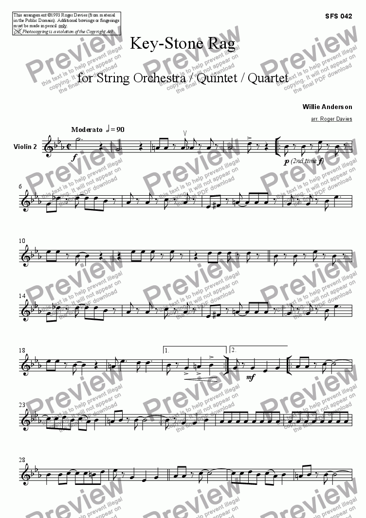 page one of the Violin 2 part from Key-Stone Rag
