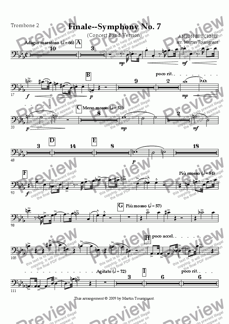 page one of the Trombone 2 part from Symphony No. 7--Finale