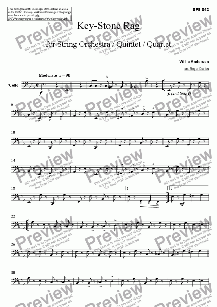 page one of the Cello part from Key-Stone Rag