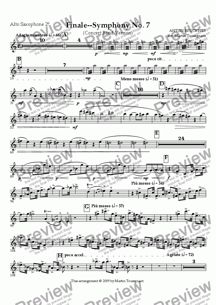 page one of the Alto Saxophone 2 part from Symphony No. 7--Finale
