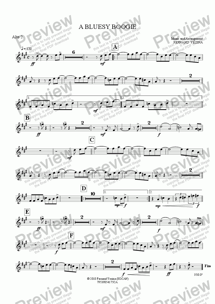 page one of the Alto 2 part from A Bluesy Boogie