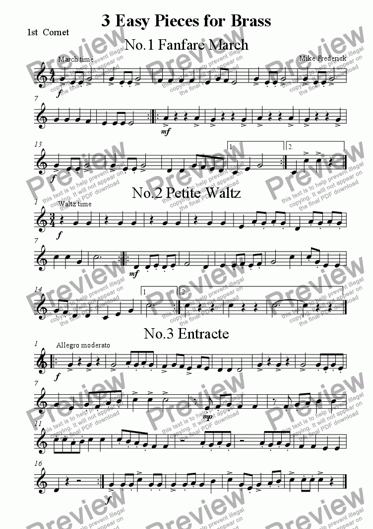 page one of the 1st  Cornet part from 3 Easy Pieces for Brass ( Junior Brass Ensemble)