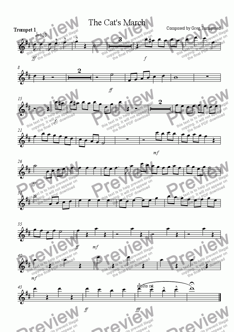 page one of the Trumpet 1 part from The Cat's March