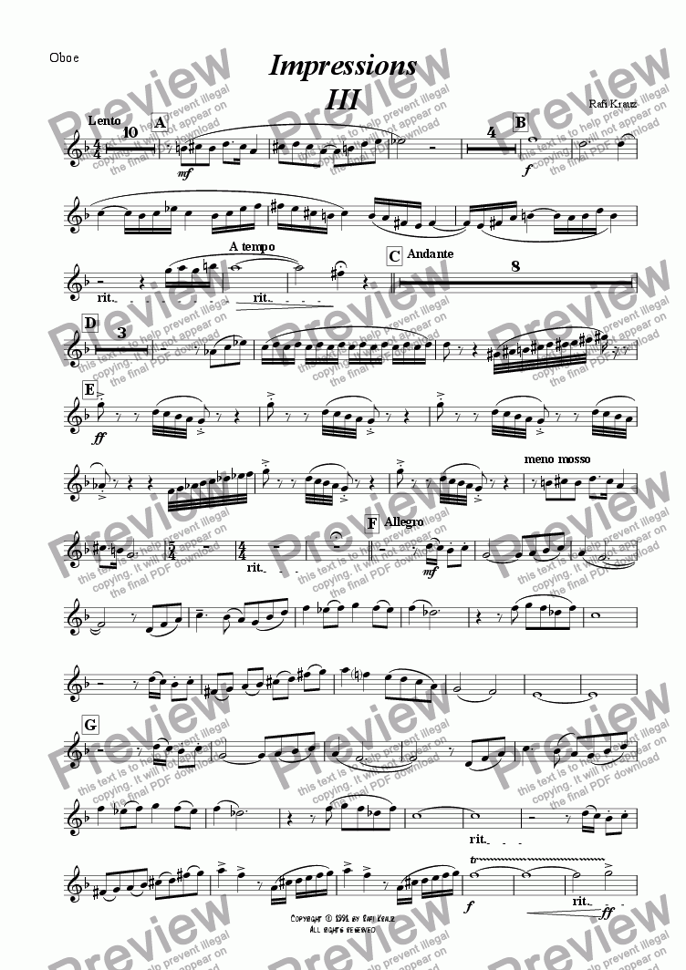 page one of the Oboe part from Impressions - chapter III