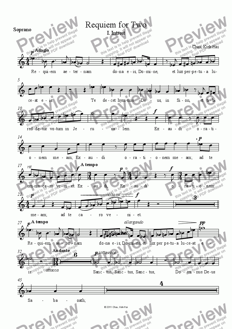 page one of the Soprano part from Requiem for Two