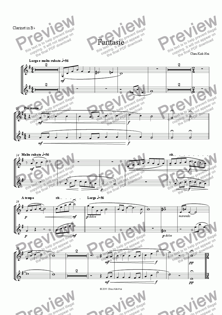page one of the Clarinet in B^b part from Fantasie
