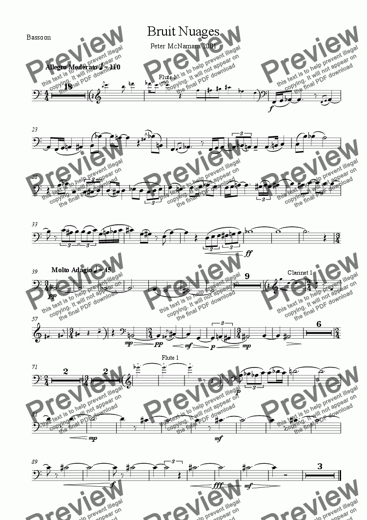 page one of the Bassoon part from Bruit Nuages