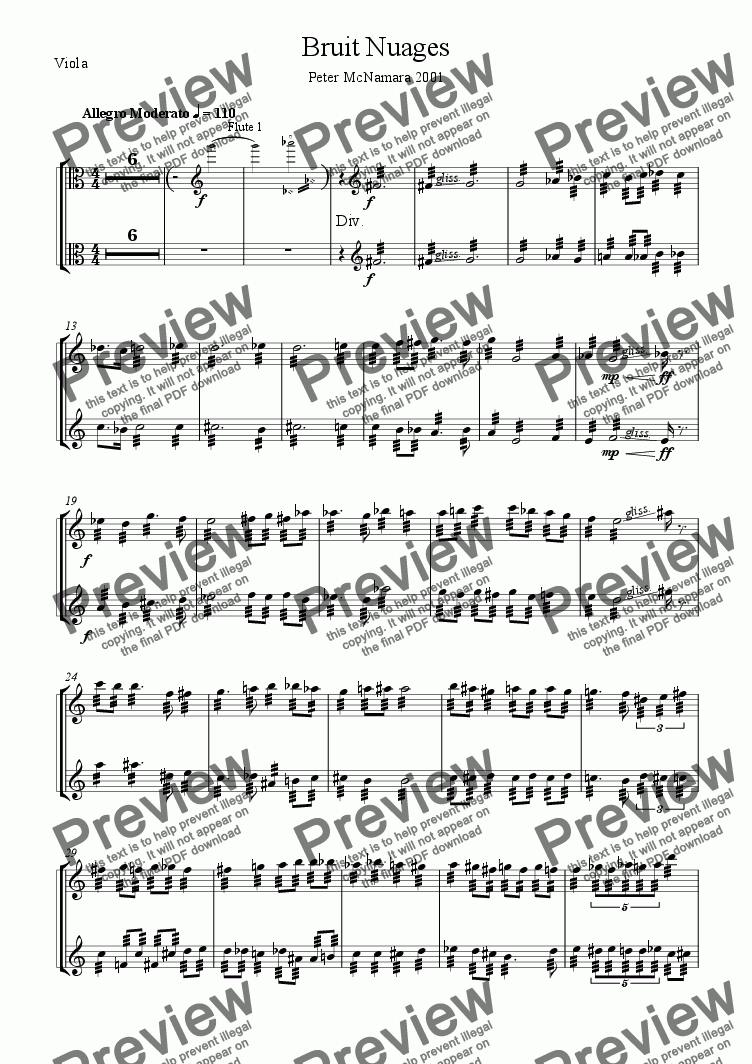 page one of the Viola part from Bruit Nuages