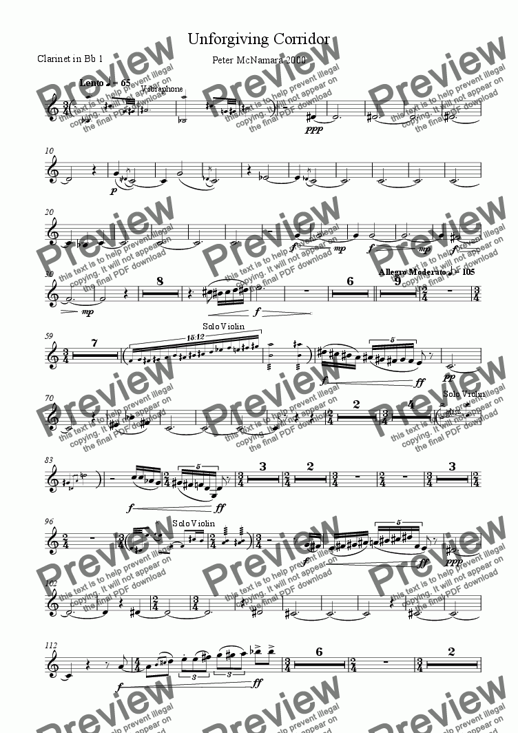 page one of the Clarinet in Bb 1 part from Unforgiving Corridor