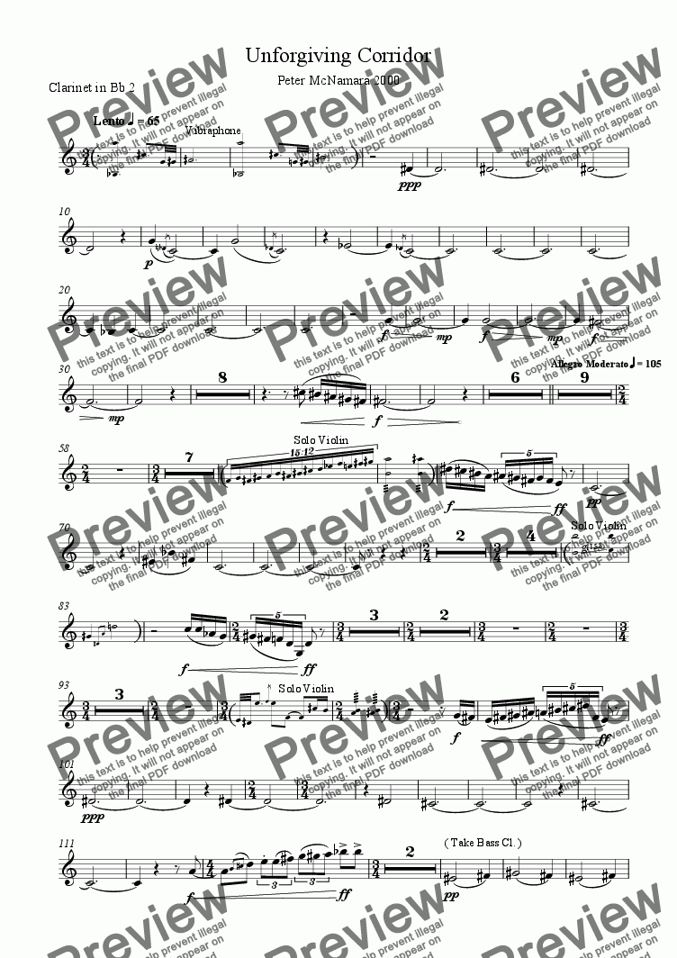page one of the Clarinet in Bb 2 part from Unforgiving Corridor