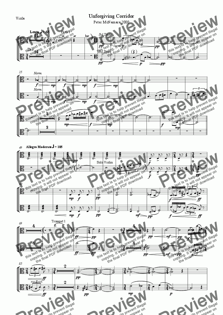 page one of the Viola part from Unforgiving Corridor
