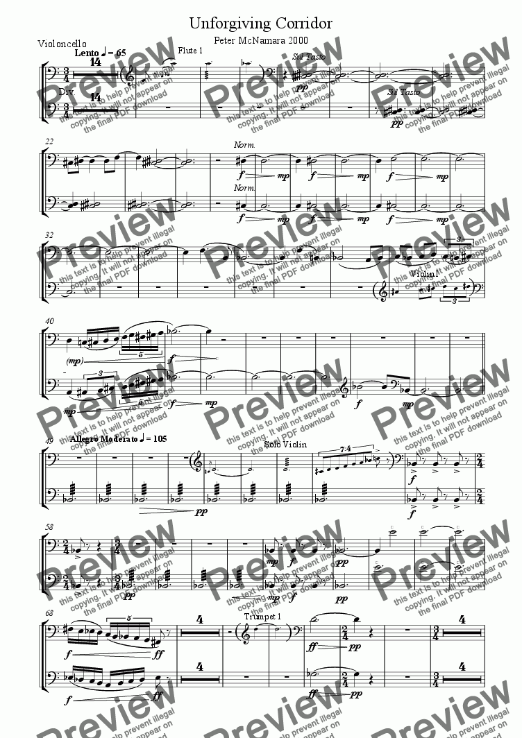 page one of the Violoncello part from Unforgiving Corridor