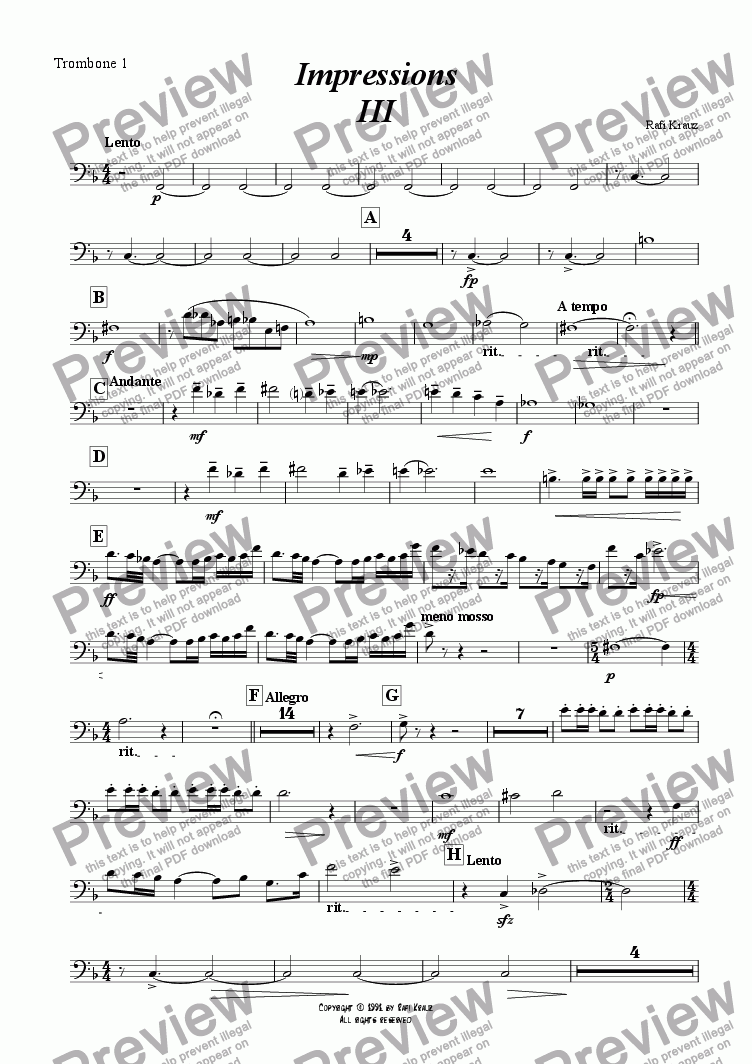 page one of the 1st Trombone part from Impressions - chapter III