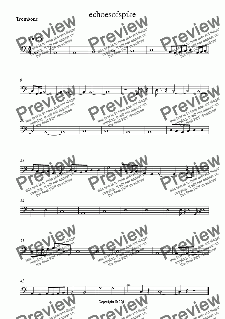 page one of the Trombone part from ECHOES OF SPIKE