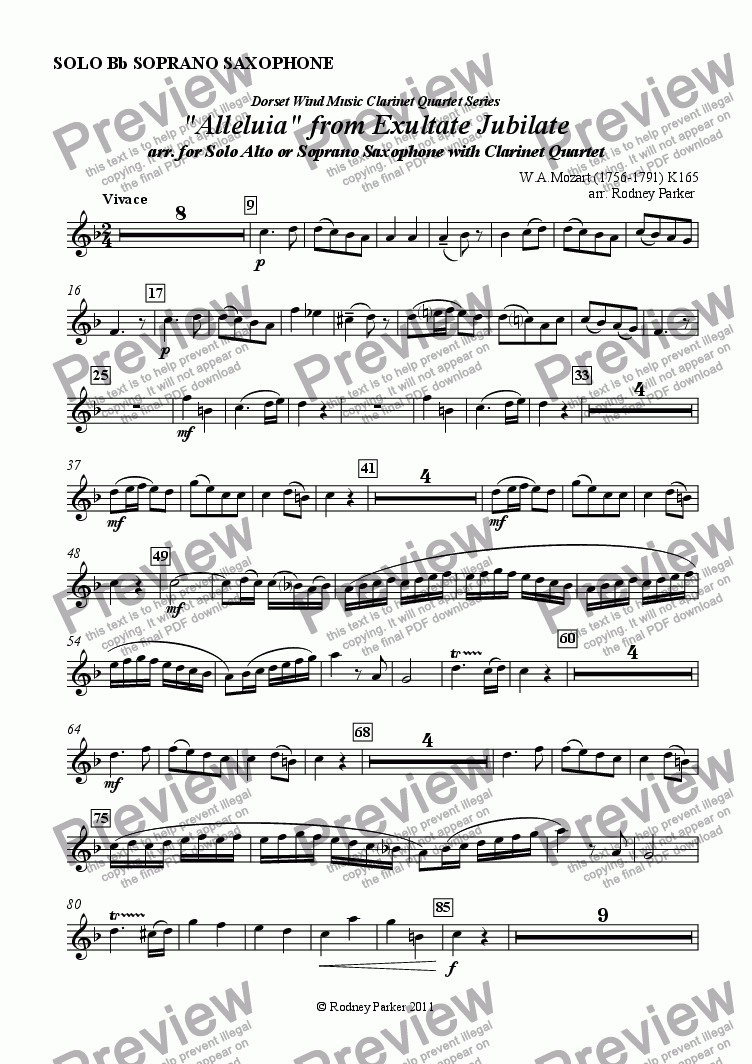 "page one of the Solo Soprano Sax part from ""Alleluia"" from Exultate Jubilate arr. for Solo Alto or Soprano Saxophone with Clarinet Quartet"