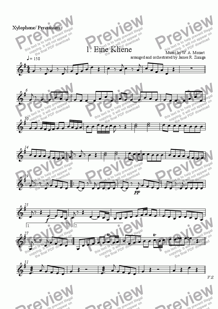 page one of the Xylophone/ Percussion part from 1. Eine Kliene