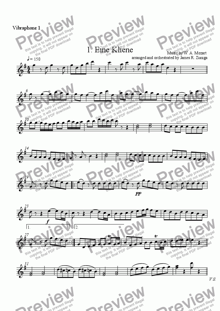 page one of the Vibraphone 1 part from 1. Eine Kliene