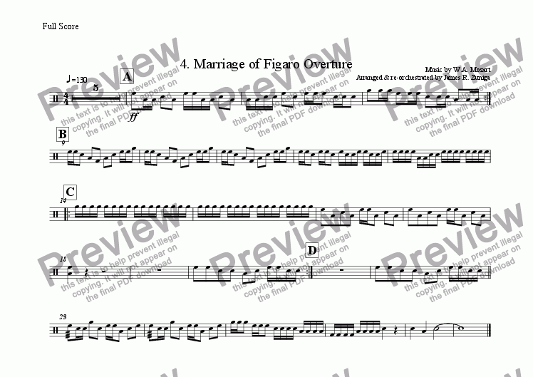 page one of the Tenors part from 4. Marriage of Figaro Overture