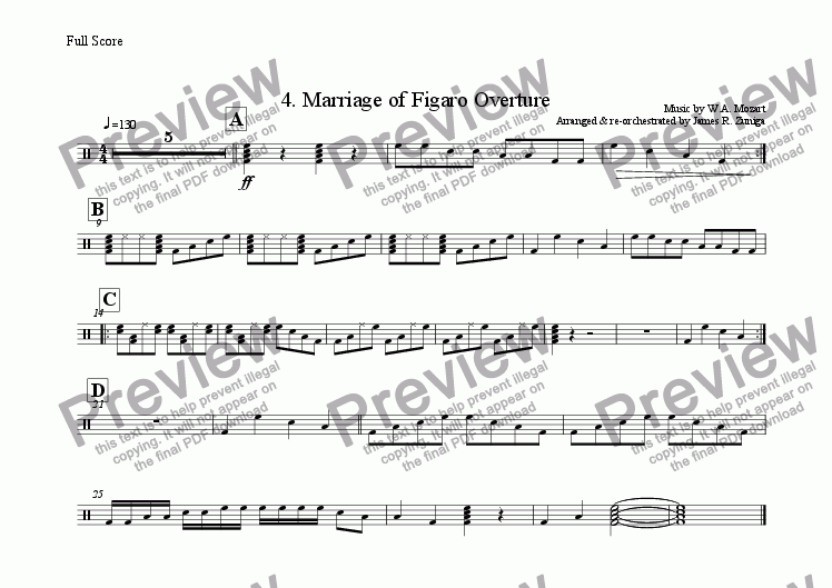 page one of the Bass part from 4. Marriage of Figaro Overture
