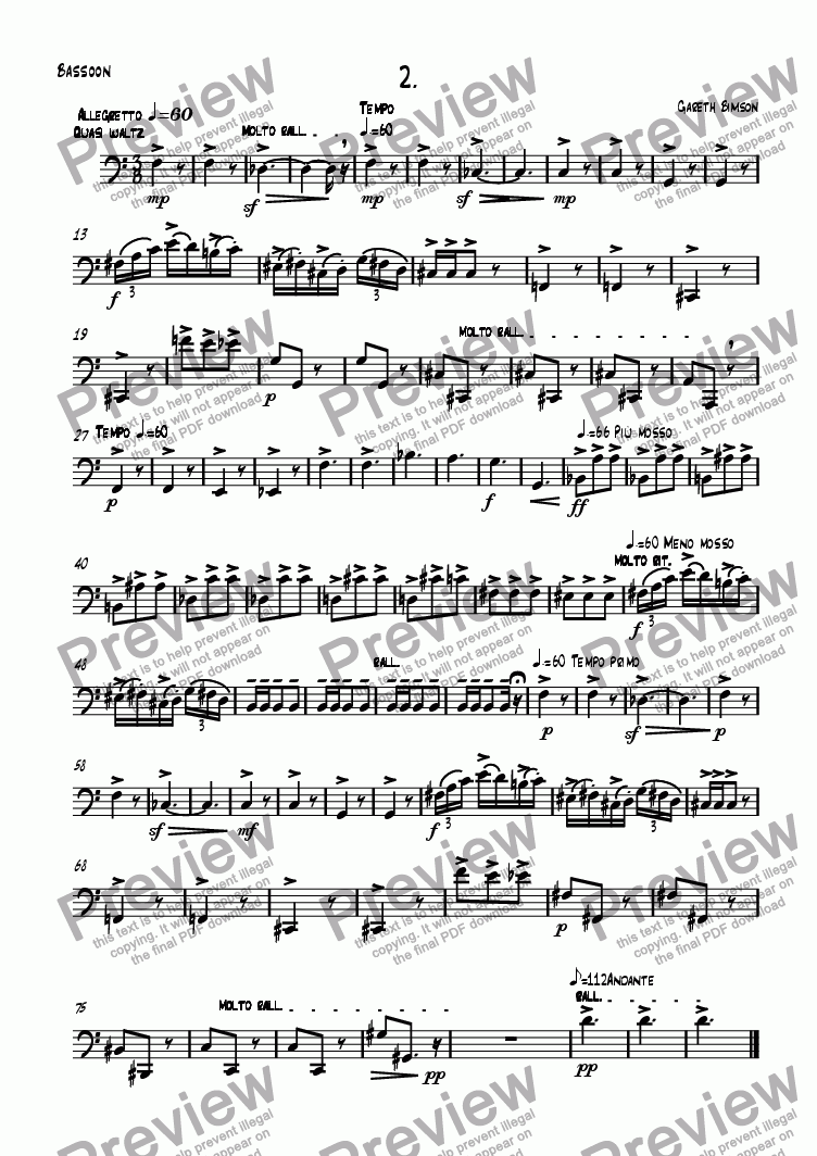 page one of the Bassoon part from Mini Sonatine 2nd Movt