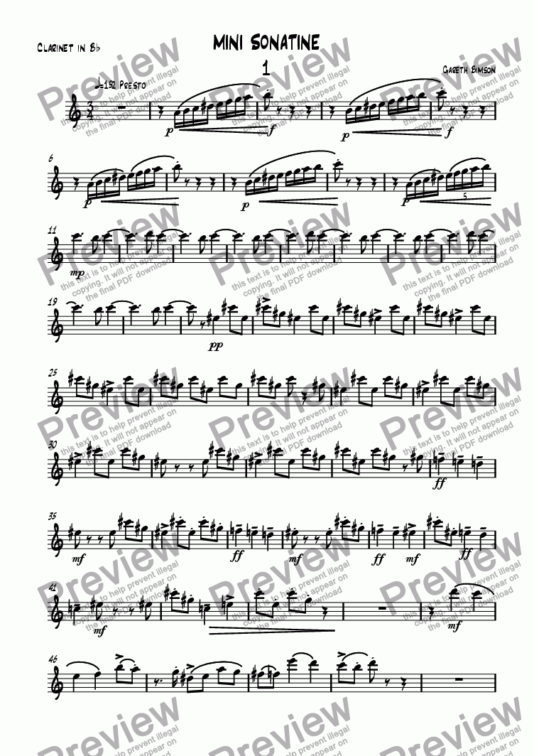 page one of the Clarinet in B^b part from Mini Sonatine 1st Movt