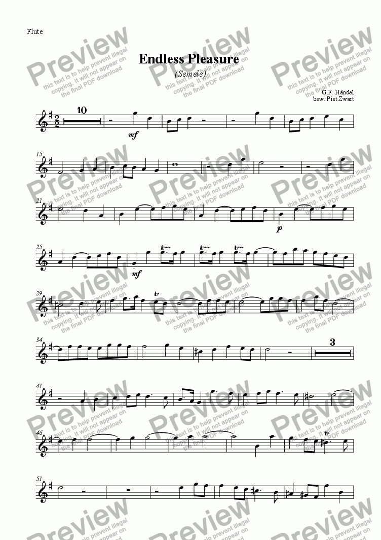page one of the Flute part from Endless Pleasure (Händel)