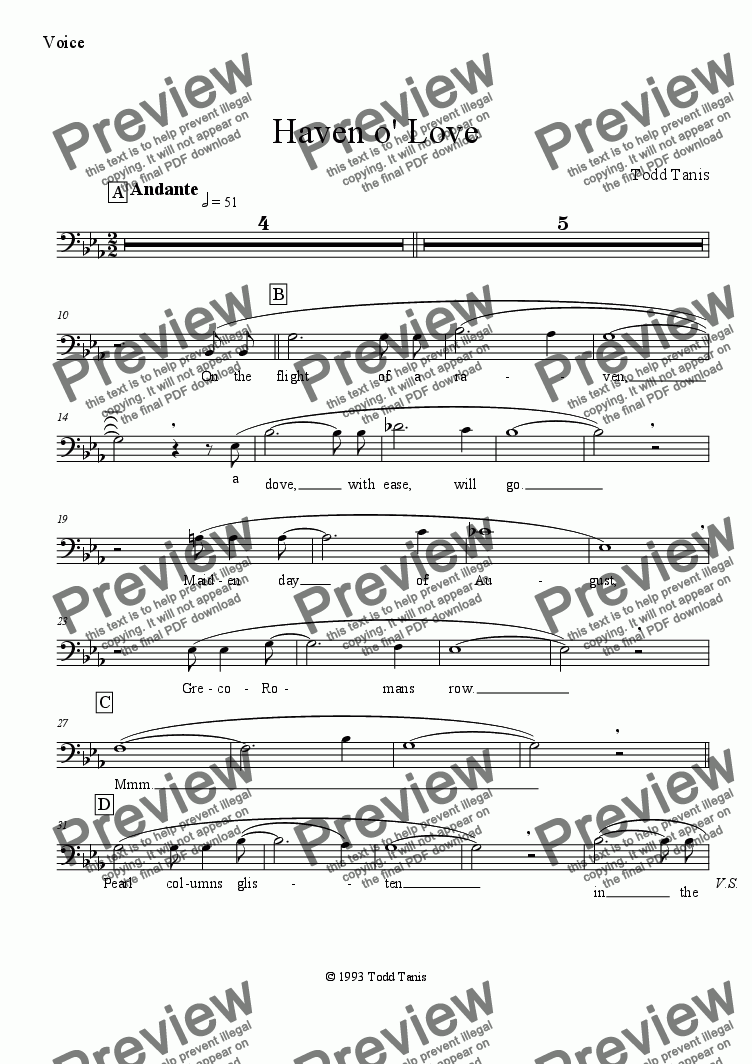 page one of the Voice part from Haven o' Love [piano-vocal solo-TTBB]