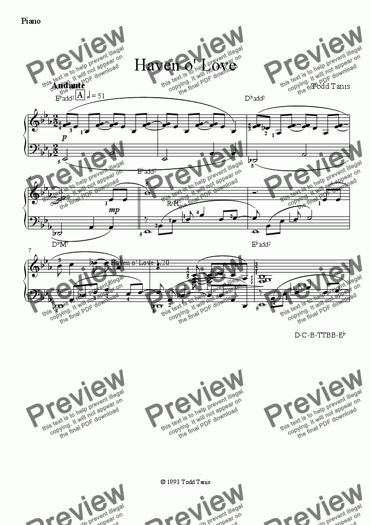 page one of the Piano part from Haven o' Love [piano-vocal solo-TTBB]