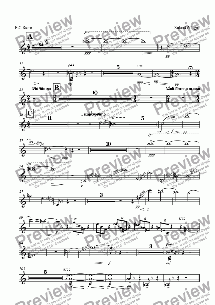 page one of the Violon II part from Mèden agan  II. partie