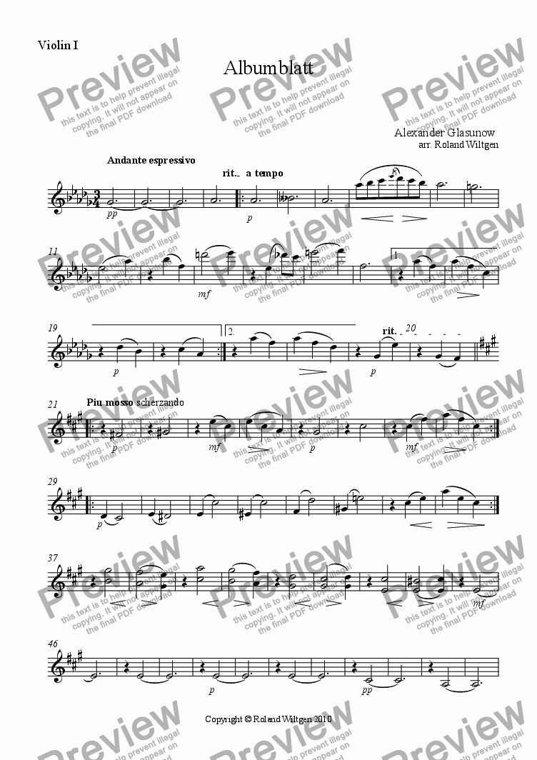 page one of the Violin I part from Albumblatt