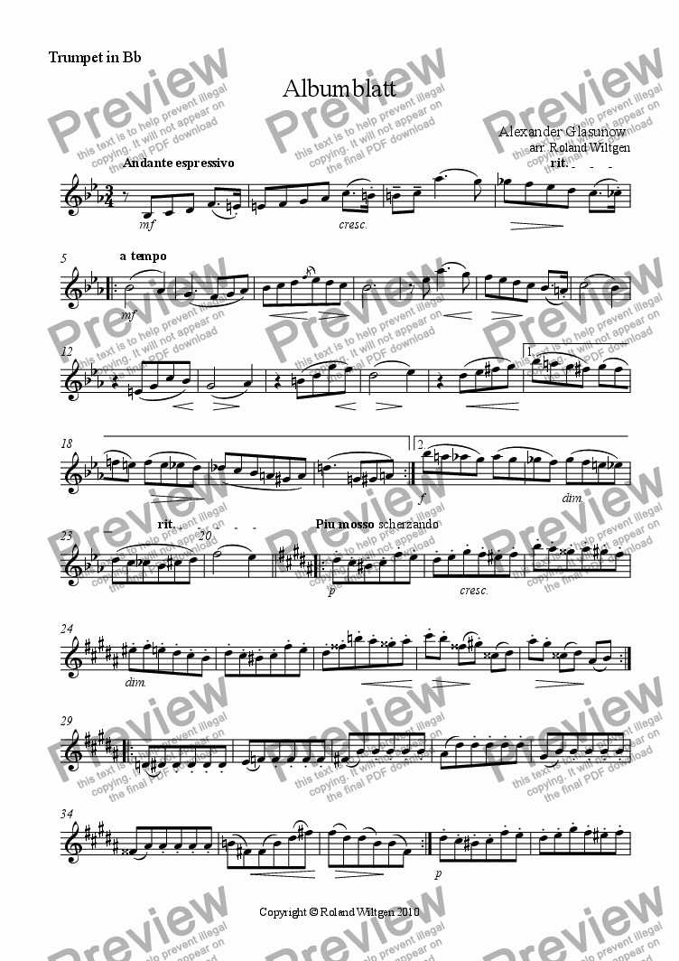 page one of the Trumpet in Bb part from Albumblatt
