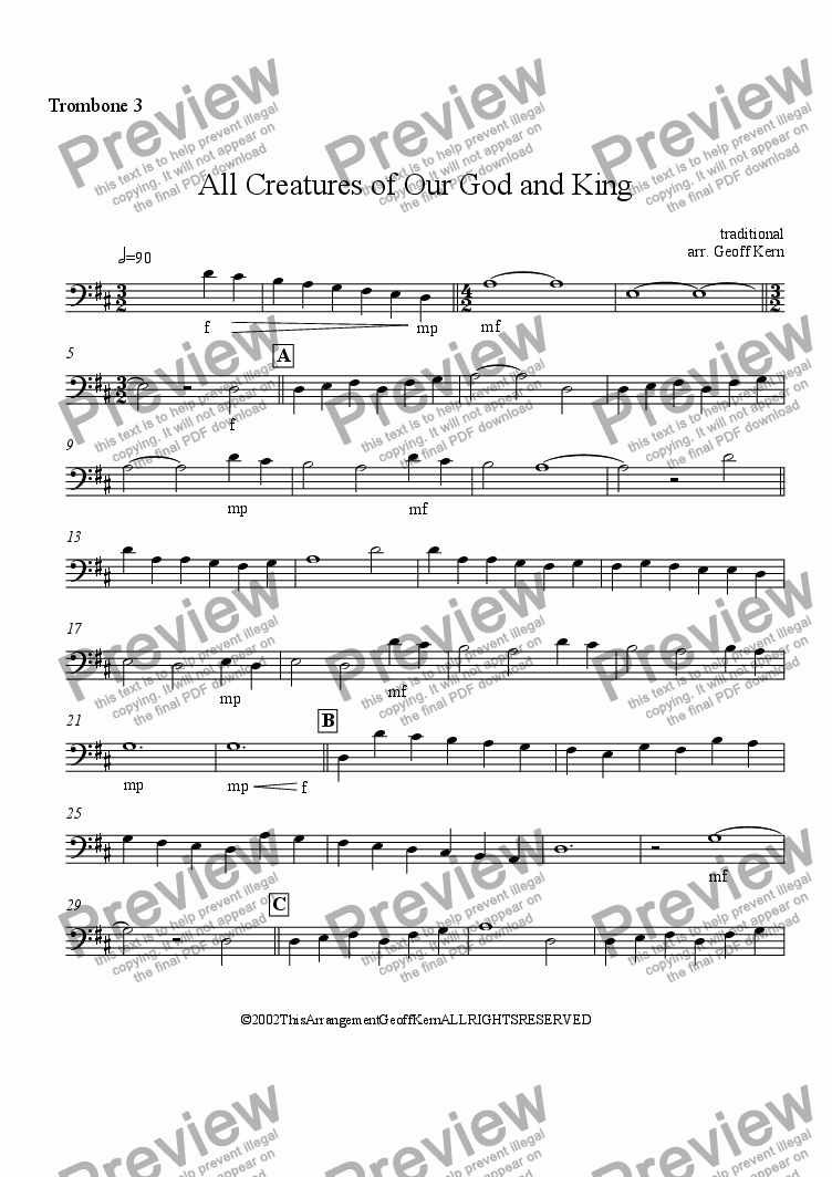 page one of the Trombone 3 part from All Creatures of Our God and King