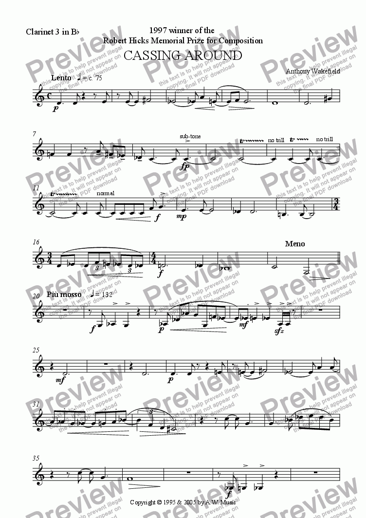 page one of the Clarinet 3 in Bb part from Cassing Around