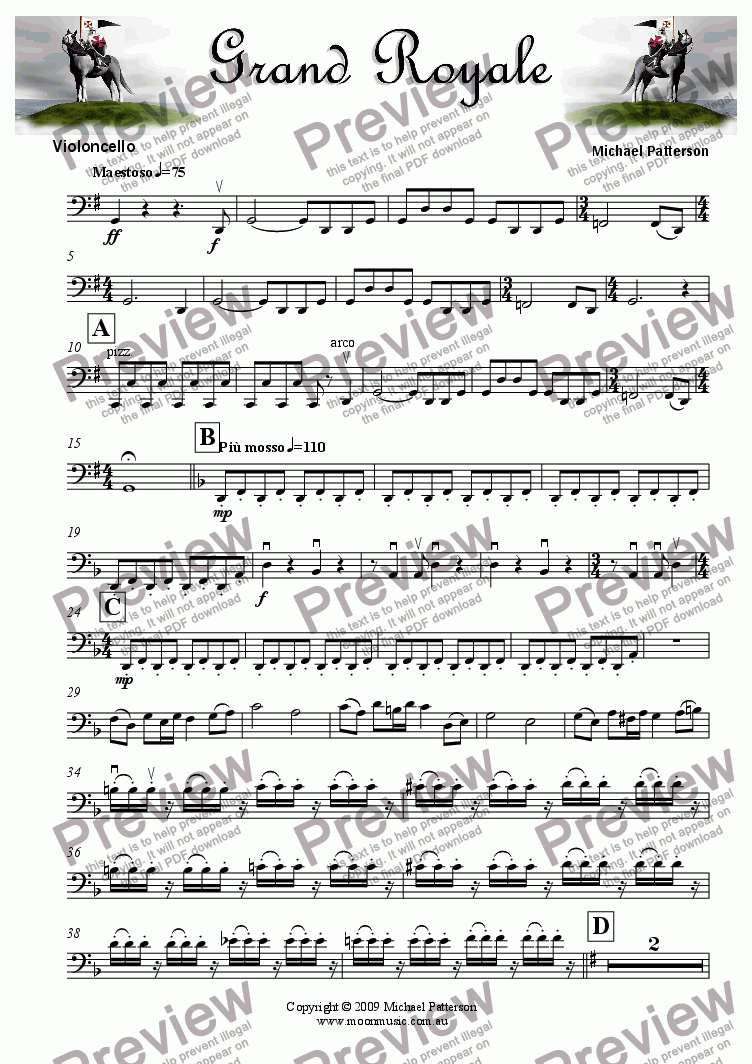 page one of the Violoncello part from The Grand Royale