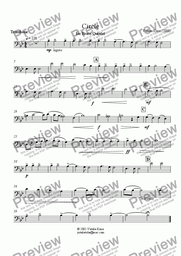page one of the Trombone part from Circle