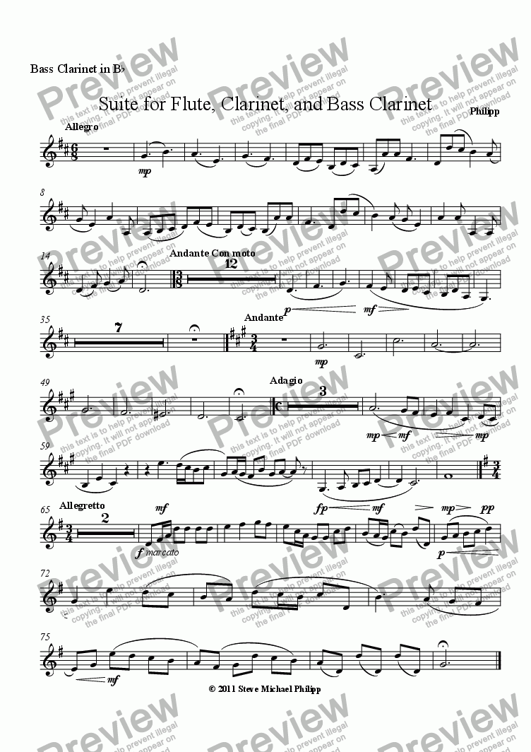 page one of the Bass Clarinet in B^b part from Suite for Flute, Clarinet, and Bass Clarinet