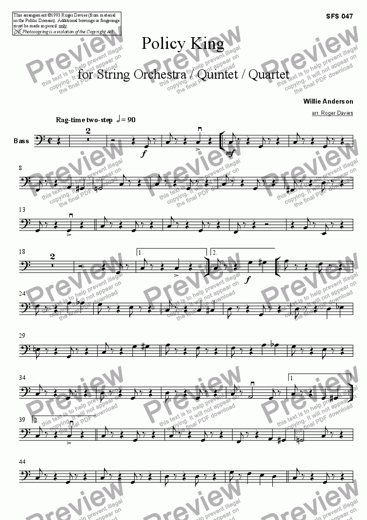 page one of the Bass part from Policy King