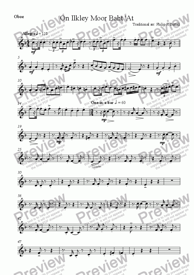 page one of the Oboe part from On Ilkley Moor Baht 'At (Wind Quintet)
