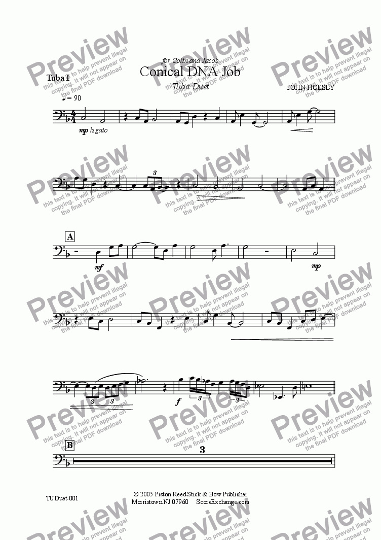 page one of the Tuba I part from Conical DNA Job- tuba duet